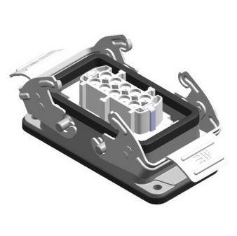 10X16A (10P+E) - Złącze elektryczne  -  HOUSING WITH FEMALE INSERT (Bulkhead Mounting) , IP65 , 10X1