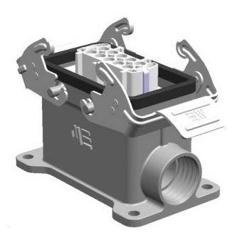 10X16A (10P+E) - Złącze elektryczne  -  HOUSING WITH FEMALE INSERT (Surface Mounting) , IP65 , 10X16