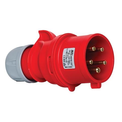 5x32A Złącze elektryczne, Wtyczka męska czerwona. 5P (3P+N+PE) 380/415V, IP44 - METE
