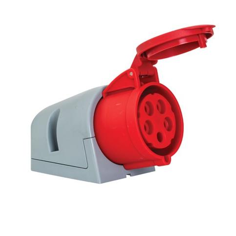5x32A Złącze elektryczne, Gniazdo ścienne żeńskie czerwone. 5P (3P+N+PE) 380/415V, IP44 - METE