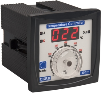 ADT-72 Miernik temperatury, analogowy z wejściem termoparowym J,K. Wyjście przekaźnikowe. (-99 ...90