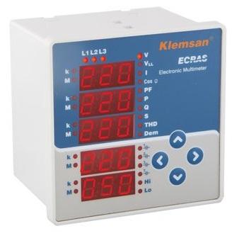 ECRAS 100 Multimetr cyfrowy 3-fazowy. Wielofunkcyjny panelowy wskaźnik wartości parametrów sieci ele