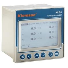 KLEA  320P Analizator parametrów sieci 3-fazowej. 2 wyjścia przekaźnikowe, 2 cyfrowe IO, RS485. Wym.