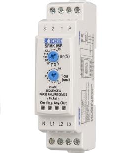 SFMK 05 (3-fazowy) Przekaźnik kolejności, asymetrii (reg. %5-15) i zaniku faz. Regulowany czas T-Off