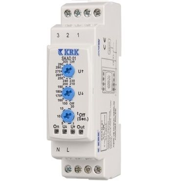 SKAD 01 (1-fazowy) Przekaźnik kontroli kolejności, zaniku faz i ustalonego zakresu napięcia sieci -
