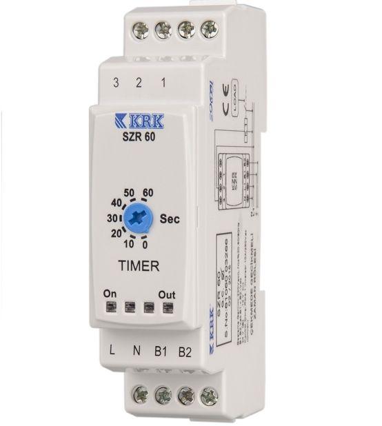 SZR–60 Przekaźnik czasowy (0,1 - 60s). Opóźnione załączenie. 24V AC/DC - 220V - KARACA